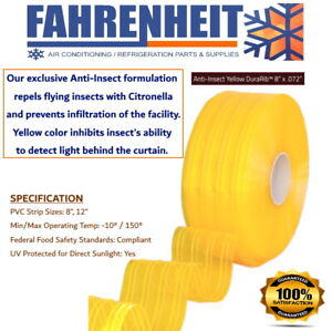 """8"""" x .072"""" X 150FT -  PVC Replacement Strips Anti-Insect Yellow DuraRib"""