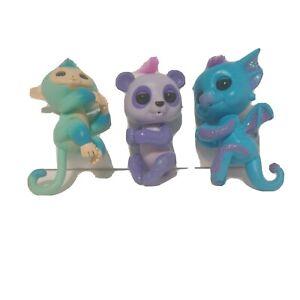 plastic Interactive  Fingerlings Monkey Dragon Glitter Panda  Toys Lot of 3