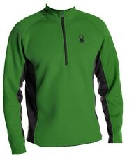 NEW MENS SIZE LARGE GREEN BLACK SPYDER HALF ZIP MID WEIGHT CORE PULLOVER SWEATER