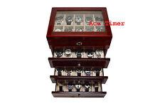 40 Watch Glass Top Mahogany Red II Display Storage Case Box + Polishing Cloth