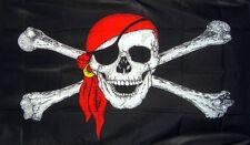 RED BANDANA PIRATE FLAG 5' x 3' Skull and Crossbones