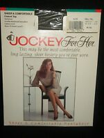 Jockey For Her Olive Sheet Control Top Nylons Small-Tall Sandalfoot Green Army