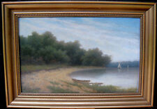 Theodor Billing. Lake landscape with boats. Sweden late 1800s