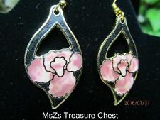 Black & Rose/Peach Cloisonne Flower Pierced Earrings    ** New with Gift Box **