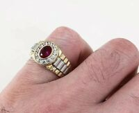 925 Sterling Silver Rubyz Style Ring Gents Full Cubic Zirconia Stones