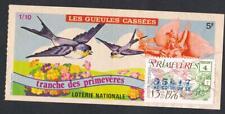 TICKET ANNÉE 1976 LOTERIE NATIONALE   sur le thème de l'hirondelle