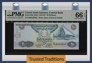 TT PK 28d 2016 UNITED ARAB EMIRATES CENTRAL BANK 20 DIRHAMS PMG 66 EPQ GEM UNC.