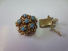 Vtg14k Solid Gold Turquoise Clasp for Double Strand Bracelet Necklace 5 Gram
