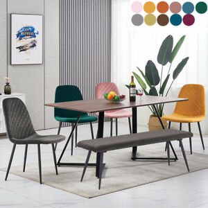 2 4 6 Dining Chairs Set Velvet Padded Seat Metal Legs Kitchen Chair Home Office