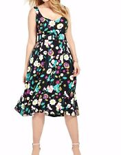 City Chic Sleeveless Crepe Fit And Flare Fresh Floral Dress Size Large - No Belt