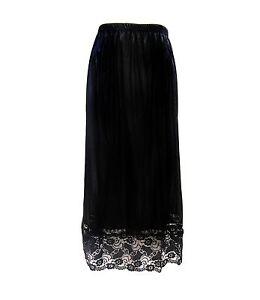 Ladies Underskirt Petticoat Full Length Half Slip Skirt  Lace Black White 1066