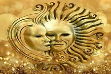 STUNNING SUN AND THE MOON CANVAS #21 GOLD WALL ART A1 A3 CANVAS PICTURES