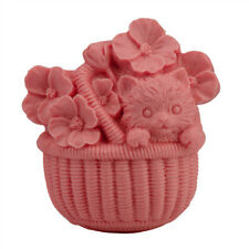 DIY Flower Basket with Dog Cake Mould Candle Ice Soap Mold Silicone Craft New