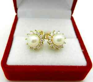 Halo Style Natural Diamond & Pearl 14k Yellow gold Stud Earrngs 3.4 gr
