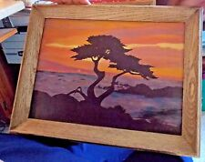 Original 1966 Landscape  Ocean Cypress Tree Sunset Bernie Sachs Painting Art