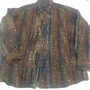 Jhane Barnes Mens Colorful Paisley Button Front Casual Dress Shirt Size XL Brown