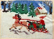 1980 Caron Latch Hooking Kit Sleigh Scene Christmas 27x20 Rug Wall Hanging 9075