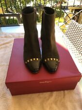 salvatore ferragamo Ankle Boots, Size 39, Musk Suede, Chain Detail