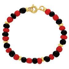 """18k Gold Plated Evil Eye Protection Beaded Toddler Bracelet Red Black 5"""""""