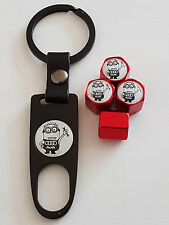 AUDI MINIONS RED DUST VALVE CAPS AND BLACK SPANNER ALL MODELS BOXED A8 A5 A6 A3
