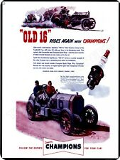 """1953 Champion Spark Plugs Old 16 9"""" x 12"""" Sign"""