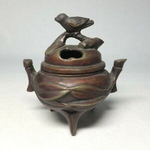 D1665: Japanese old tasty copper ware incense burner of bird on the bamboo image
