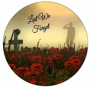 Remembrance Day Design Edible Icing Cake Topper and Ribbon Decorations