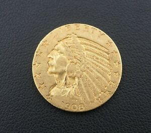 1908 $5 Dollar Indian Head Half Eagle Gold Coin Free Shipping Rare M1541