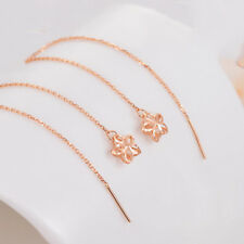 New Fine Real 18K Rose Gold Earrings Woman Lucky O Chain Link Star Flower 105mmL