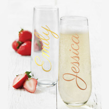 Personalised Champagne Flute Stemless Glass Wedding Christmas Birthday Gift