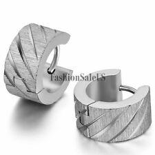 2pcs Men's Wide Stainless Steel Knurling Pattern Shining Huggie Hoop Earrings