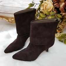 f4a8a53c49f Adrienne Vittadini Jael Chocolate Suede Fold-Over Women s Boots Size 6M
