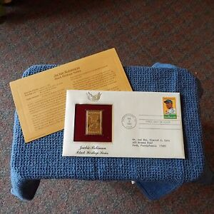 Estate Find FDC w/Gold Replica JACKIE ROBINSON, BLACK HERITAGE SERIES, 1982
