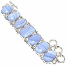 "Blue Lace Agate Gemstone Handmade 925 Sterling Silver Bracelet 6-9"""