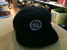 Vintage GE Trucker Corduroy Cap Hat Snapback Black Retro Indie 80s