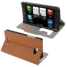 Book Tasche für HTC Butterfly Etui Hülle in braun Handytasche mit Anrufanzeige