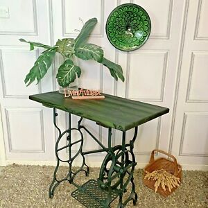 Sewing Machine Table Solid Wood Green Console Table Industrial Style