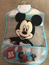 DISNEY MICKEY MOUSE SLEEVELESS PEVA BIB NEW IN PACKAGING ONE SIZE