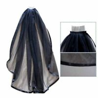 Wedding Gothic BLACK HALLOWEEN Veil Edge Comb Elbow Length Fancy Dress Party GI8