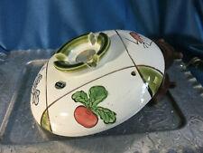 Handpainted fruit geometric pottery big 9' rice sushi bowl footed Utsuwa Japan