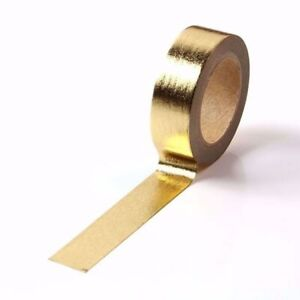 Washi Tape Light Gold Metallic Foil Solid Colour Gilded 15mm x 10m