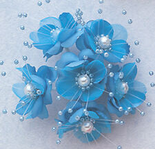 "1.5"" SILK FLOWERS WITH PEARL - 12 PCS TO PACKET   -  TURQUOISE COLOR"