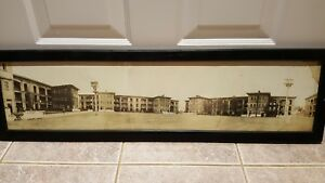 Antique WWI Framed Panoramic Photo of European City Square with Soldiers Germany