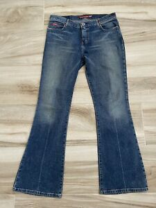 Guess USA Womens Flared Jeans Blue Mid Rise 5 Pocket Stretch 31