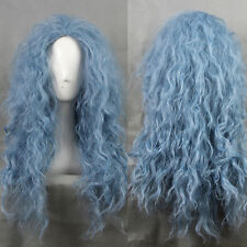 Harajuku Cool Blue Cosplay Costume Wig Long Wavy Curly Anime Hair Witch Full Wig