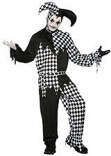 HARLEQUIN CLOWN DARK JESTER BLACK AND WHITE HALLOWEEN MEN'S FANCY DRESS COSTUME