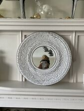 Lovely Moroccan Vintage Look Round Wall Mirror Distressed Ivory