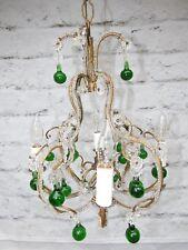 Vintage Petite Italian Crystal Beaded 4 Light Chandelier w/ Green Murano Drops