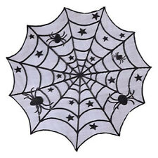 Lace Tablecloth Round Table Topper Black Halloween Decoration Home Party