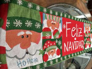 """Christmas Holiday Decor Table Runner Santa Claus FELIZ NAVIDAD Tapestry 70""""x 14"""""""